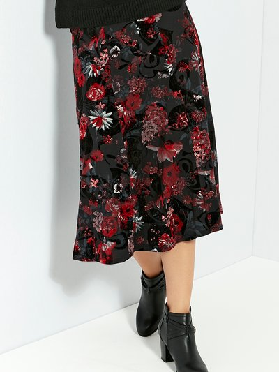 Flocked floral print midi skirt