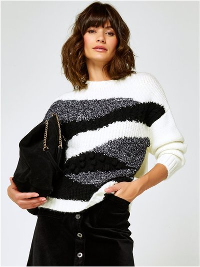 Stripe patchwork knit jumper