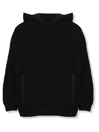 Ribbed knit longline hoodie (3-12yrs)