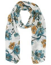 Teal and ochre floral print scarf