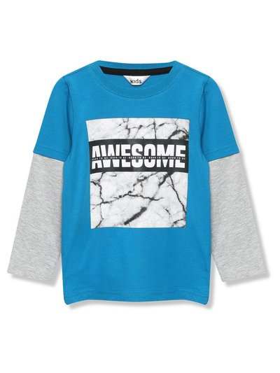 Awesome marble slogan t-shirt (3-12yrs)