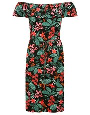 Tropical floral print frill layer bardot dress