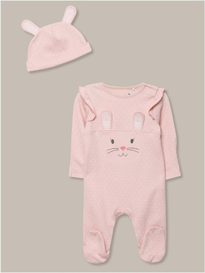 Bunny romper and hat set (newborn-18mths)