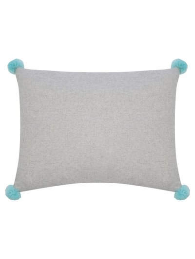 Turquoise pompom grey cushion
