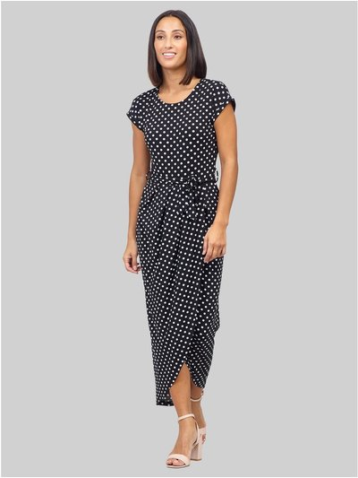 Izabel polka dot wrap midi dress