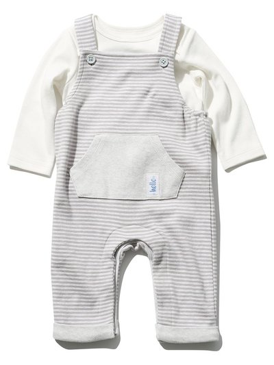 Stripe dungarees and top set (Tiny baby - 9 mths)