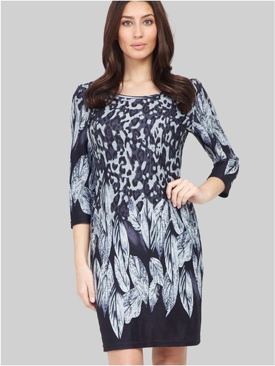 Izabel animal and feather print dress