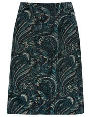 Flocked paisley A line skirt