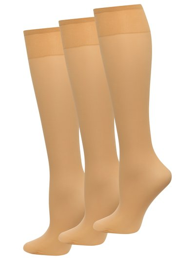 10 Denier gloss knee highs three pack