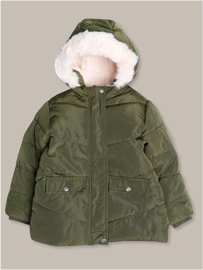 Fur trim quilted jacket (18mths-12yrs)