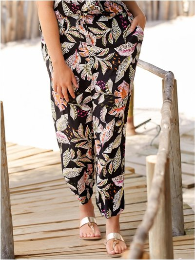 Plus leaf print trousers