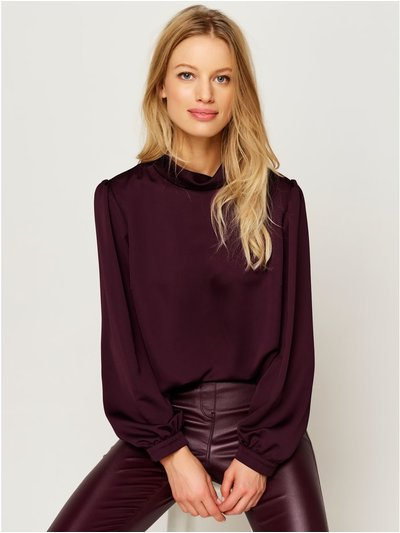 High neck satin blouse