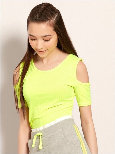 Teens' neon cold shoulder top