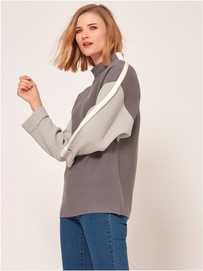 Ribbed colourblock jumper