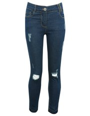 Ripped let down hem skinny jeans
