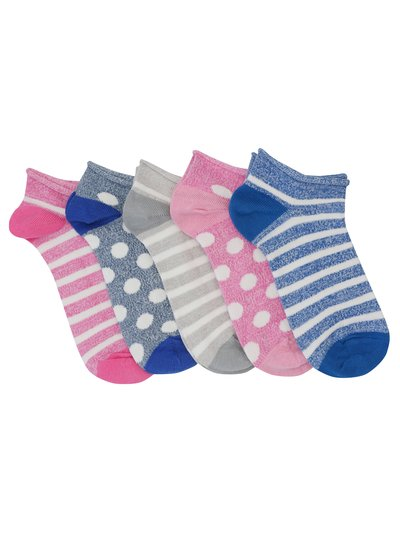 Teens' stripe and spot trainer socks five pack