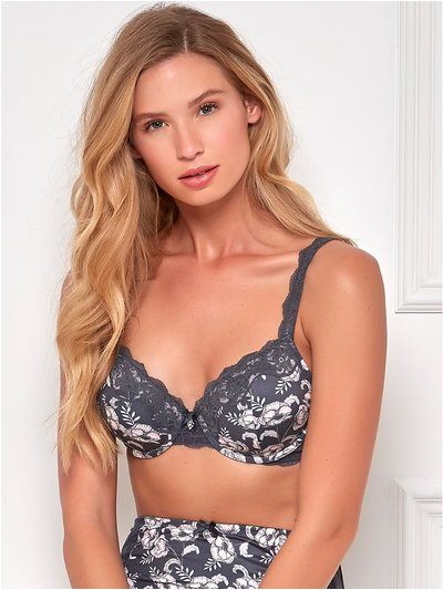 Padded grey floral underwire bra