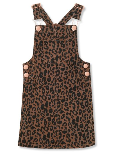 Leopard print denim pinafore dress (3-12yrs)