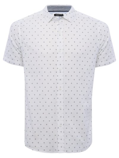 Fleur de lis print oxford short sleeve shirt