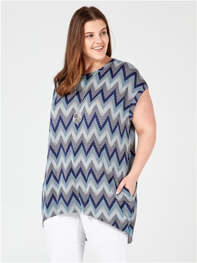 Blue Vanilla Curve zig zag top with necklace