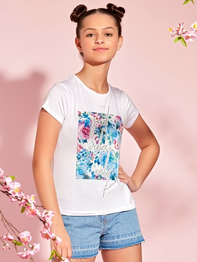 Teen floral slogan t-shirt