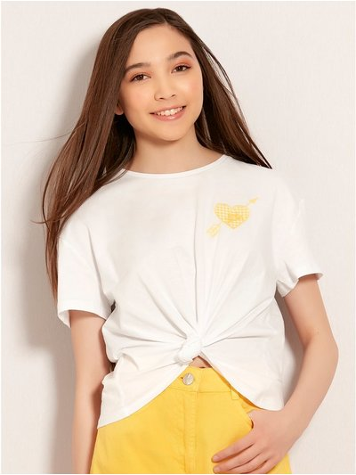 Teens' heart embroidered knot t-shirt