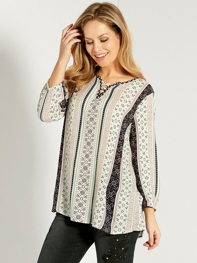 Stripe print peasant top