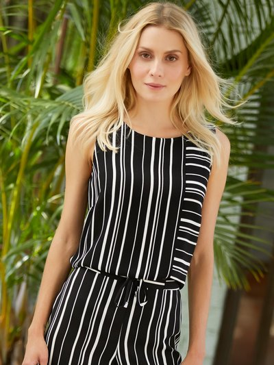 Petite multi stripe sleeveless top