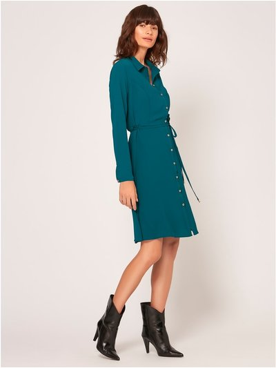 Tie belt shirt dress