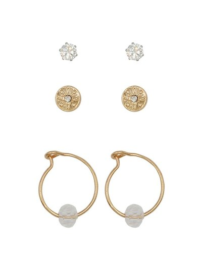 Teen stud and hoop earrings three pack
