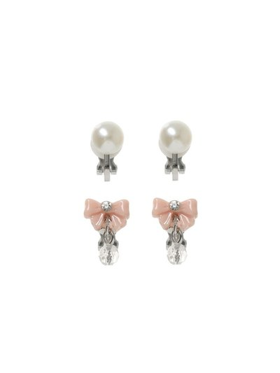 Pearl and bow silver clip on earrings