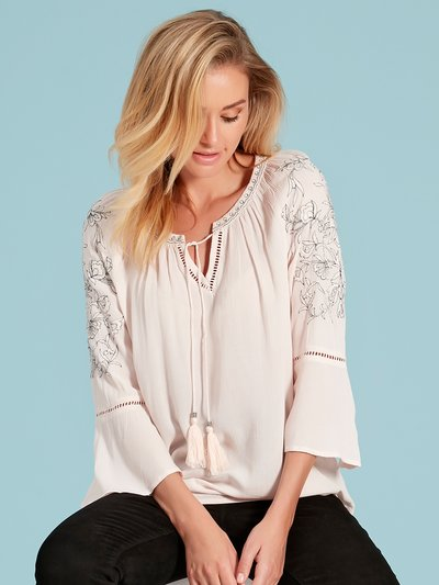 Floral embroidered peasant blouse