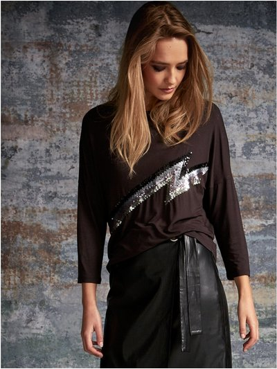 Sonder Studio lightning bolt embellished top