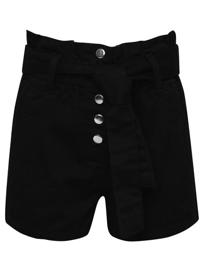 Teen black paperbag denim shorts