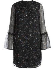 Pieces speckle tulip sleeve shift dress