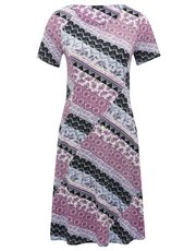 Patchwork print pocket day dress