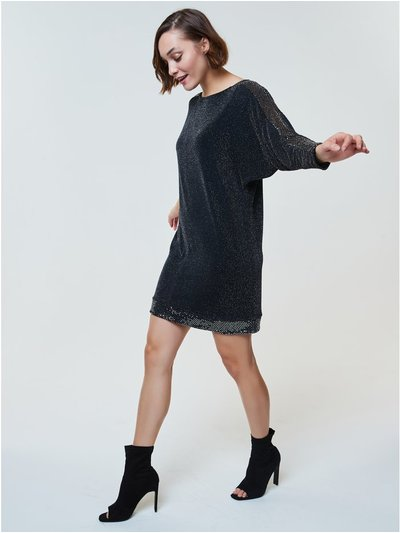 Sequin trim shift dress
