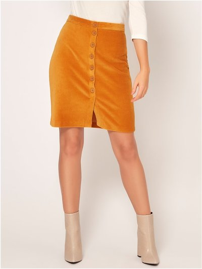 Petite cord button skirt