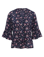 Petite floral flare sleeve top