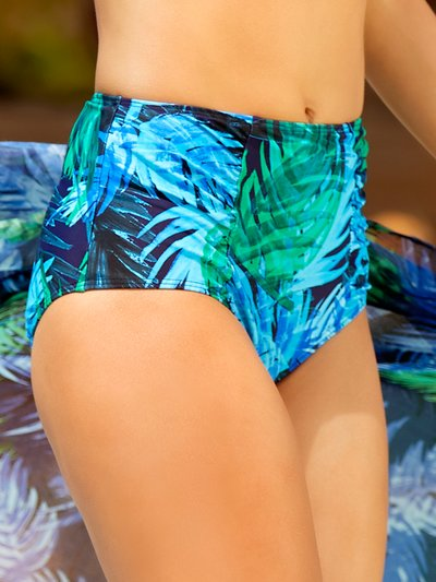 Blue palm print high waist control bikini bottoms