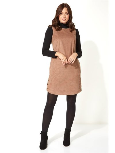 Roman Originals corduroy button pinafore dress