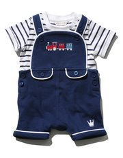 Embroidered train bibshort and stripe t-shirt set