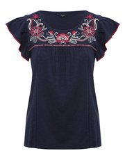 Petite floral embroidered top