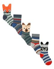 Animal stripe socks five pack