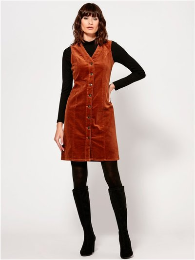 Button through cord shift dress