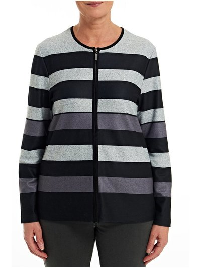 TIGI zip up stripe cardigan