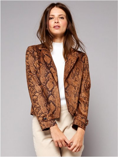 Petite faux suede snake print jacket
