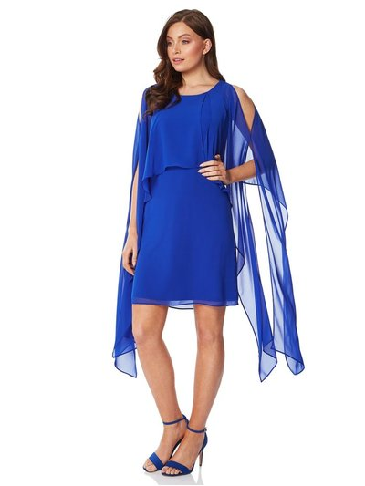 Roman Originals chiffon cold shoulder sleeve dress