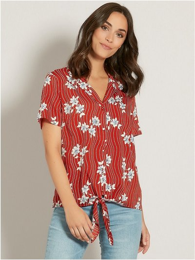 Tropical floral tie front shirt