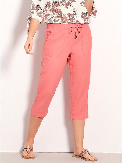 Petite cropped linen trousers